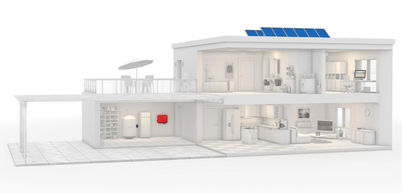 SMA solar inverter house Illustration