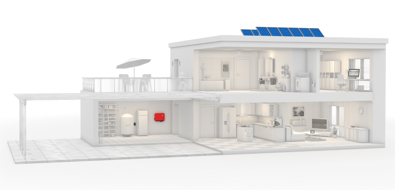 SMA solar inverter house Illustration